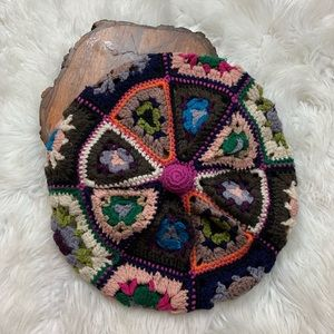 Colorful Knit Crocheted Beret Hat Mossimo Supply
